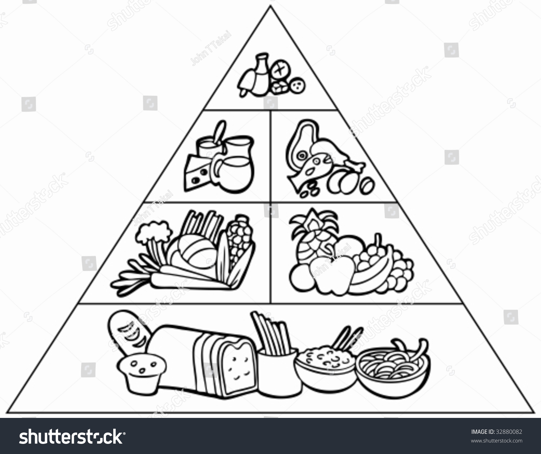 Cartoon Food Pyramid Line Art Stock Photo