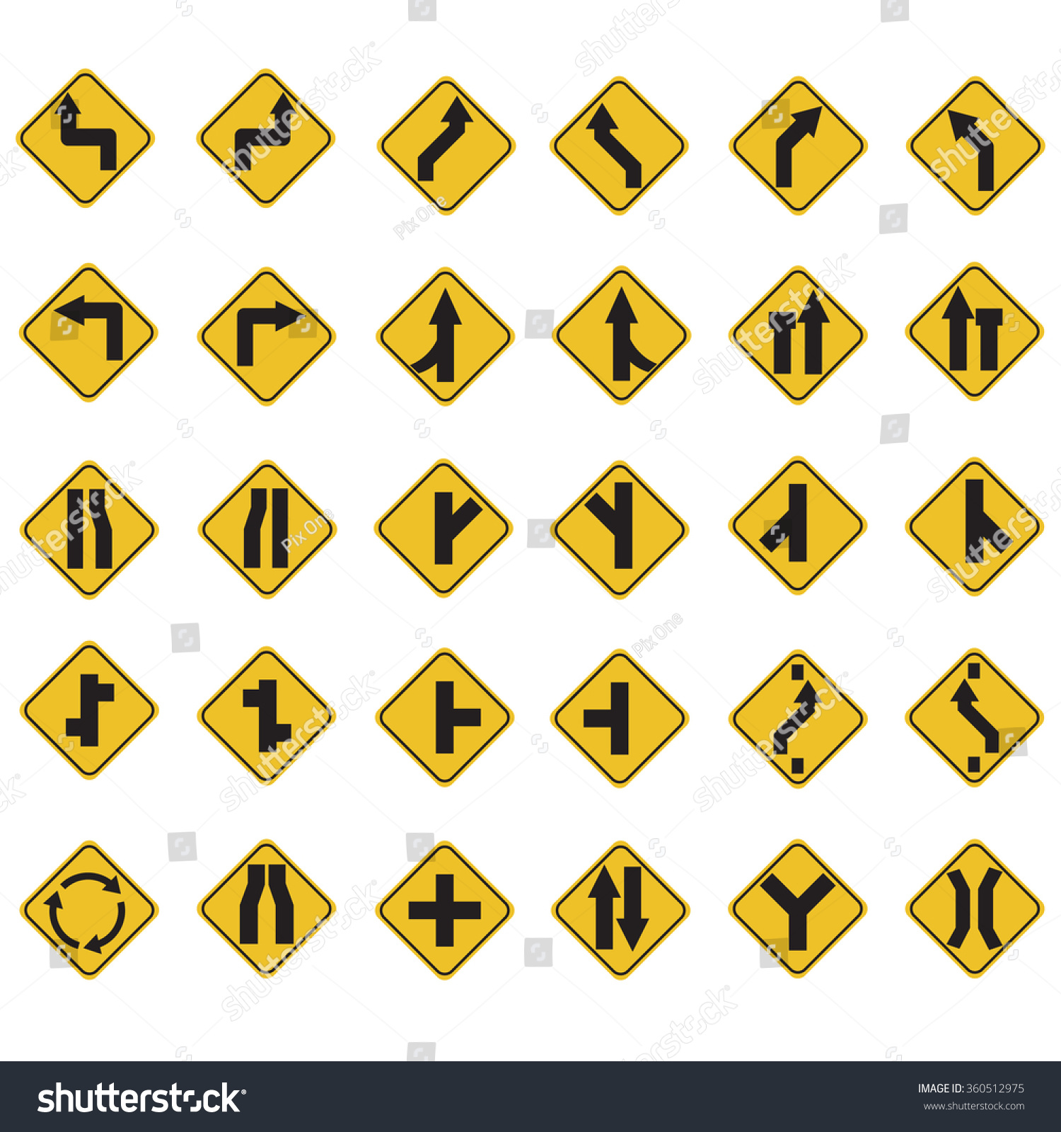 Yellow Road Signs Traffic Signs Vector Stock Photo