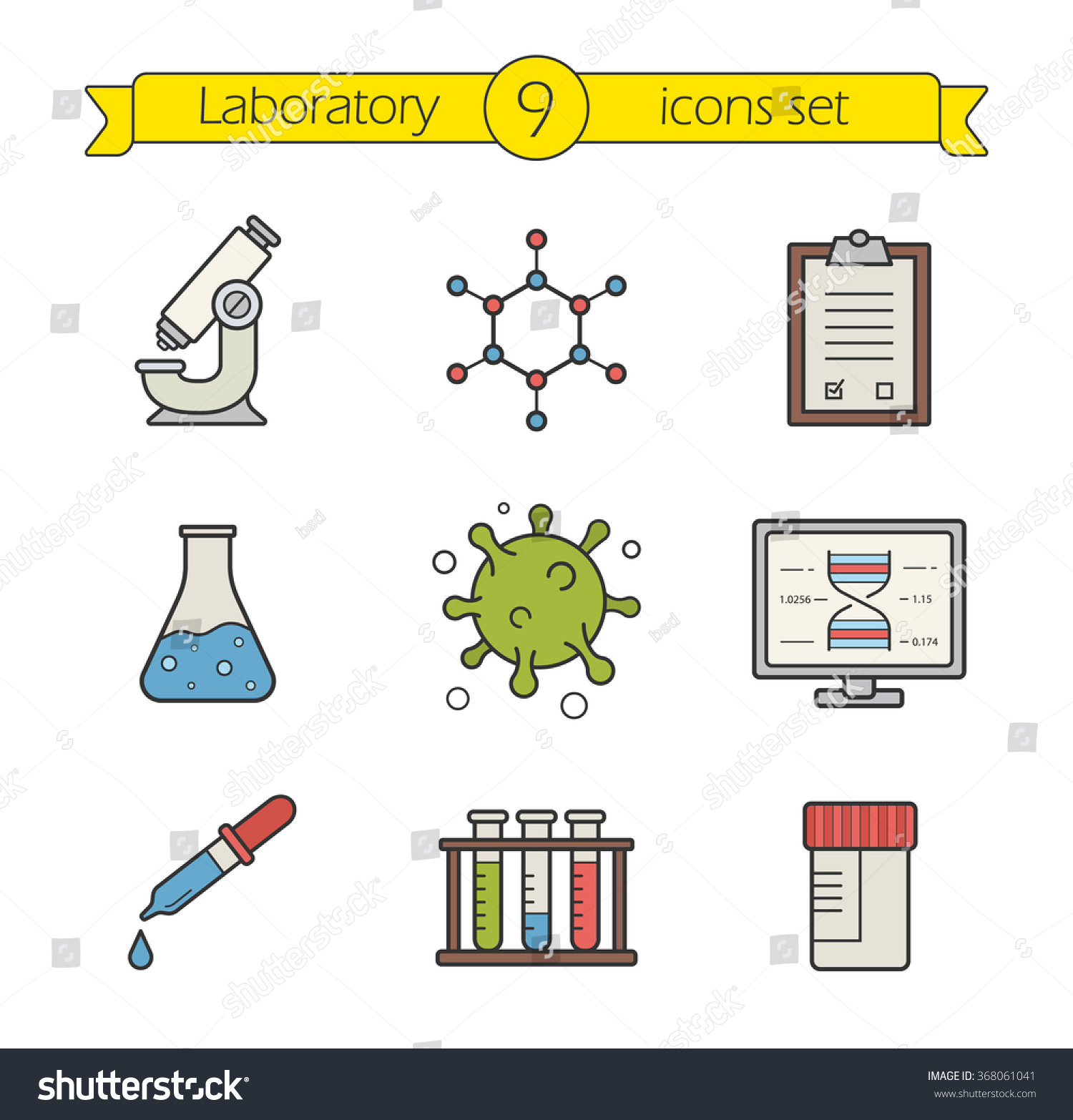 Science Laboratory Tools Color Icons Stock Photo