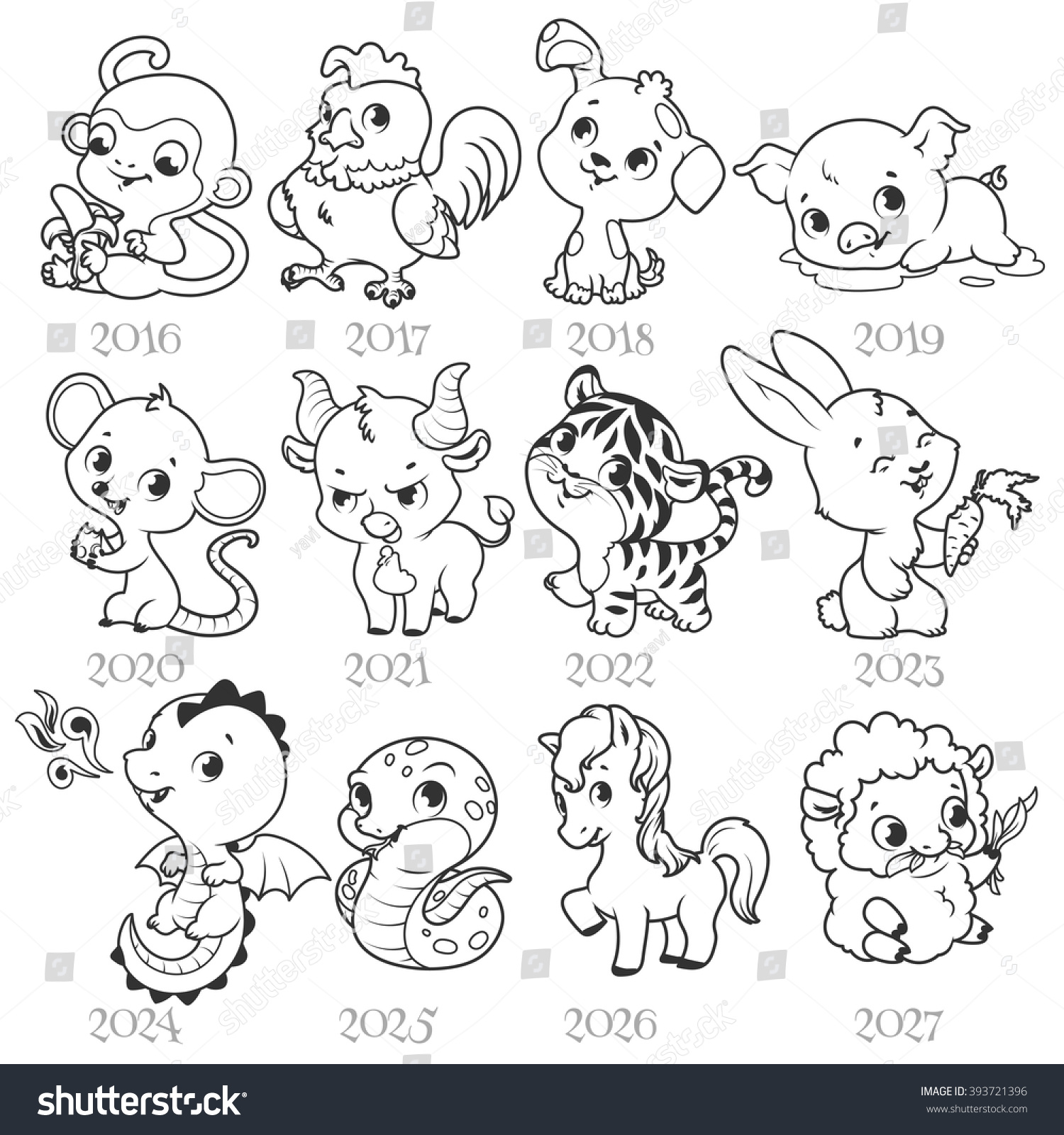 Set Of Zodiac Signs In Cartoon Style Stock Photo