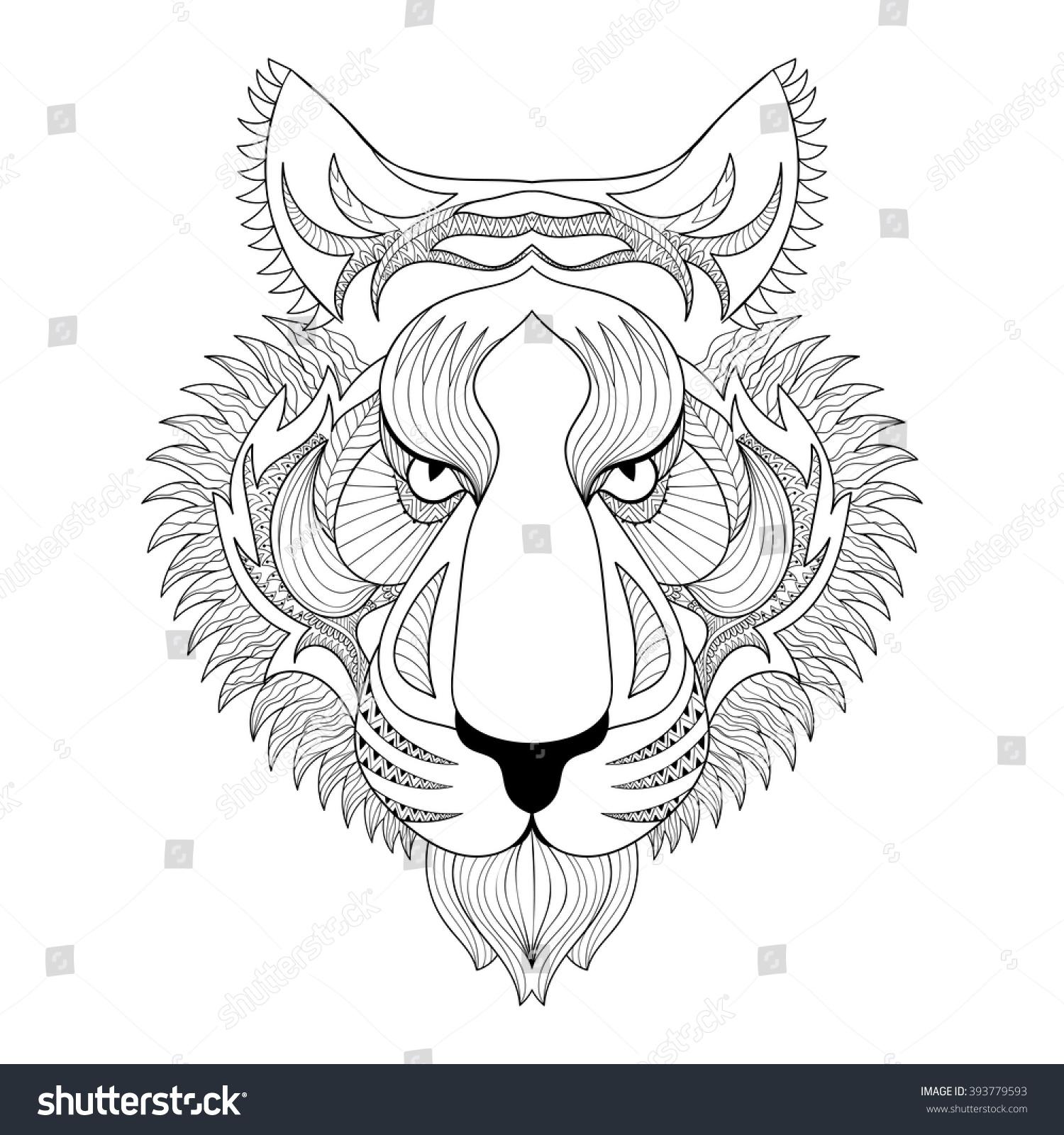 Vector Tiger Zentangle Tiger Face Stock Photo