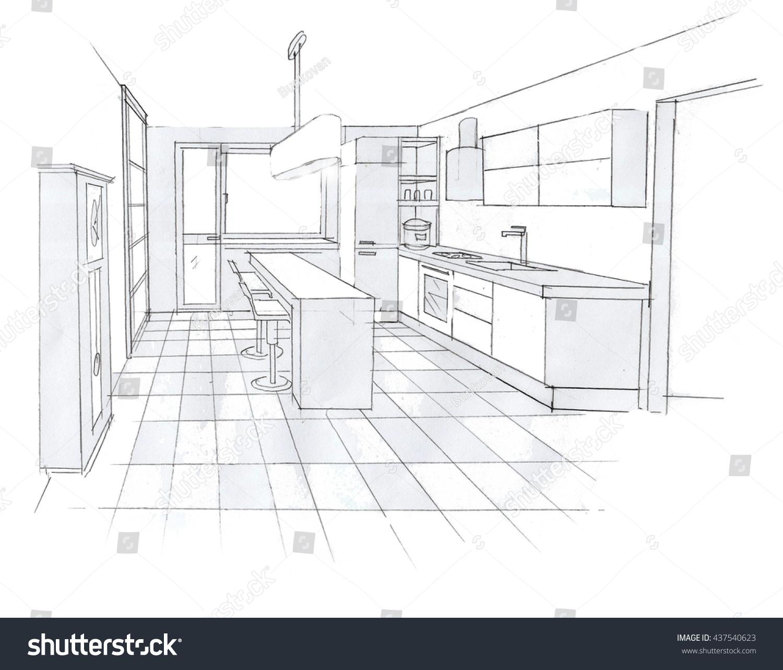 Interior Sketch Design Of Kitchen Stock Photo