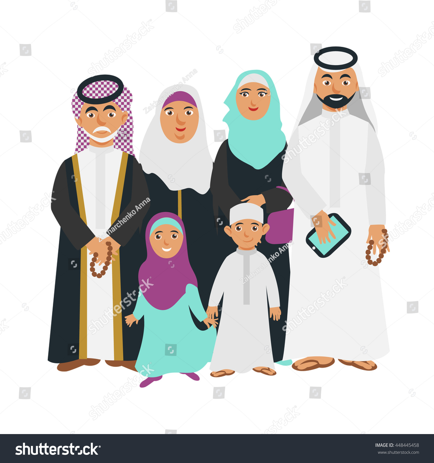 Arab Cartoon People Father With Gadget Stock Photo