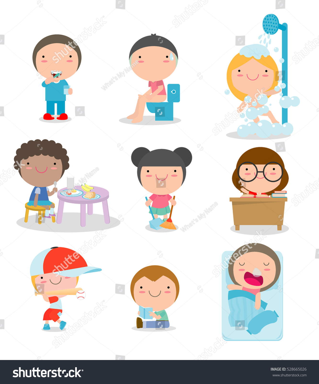 Daily Routines For Kids Set Of Little Stock Photo