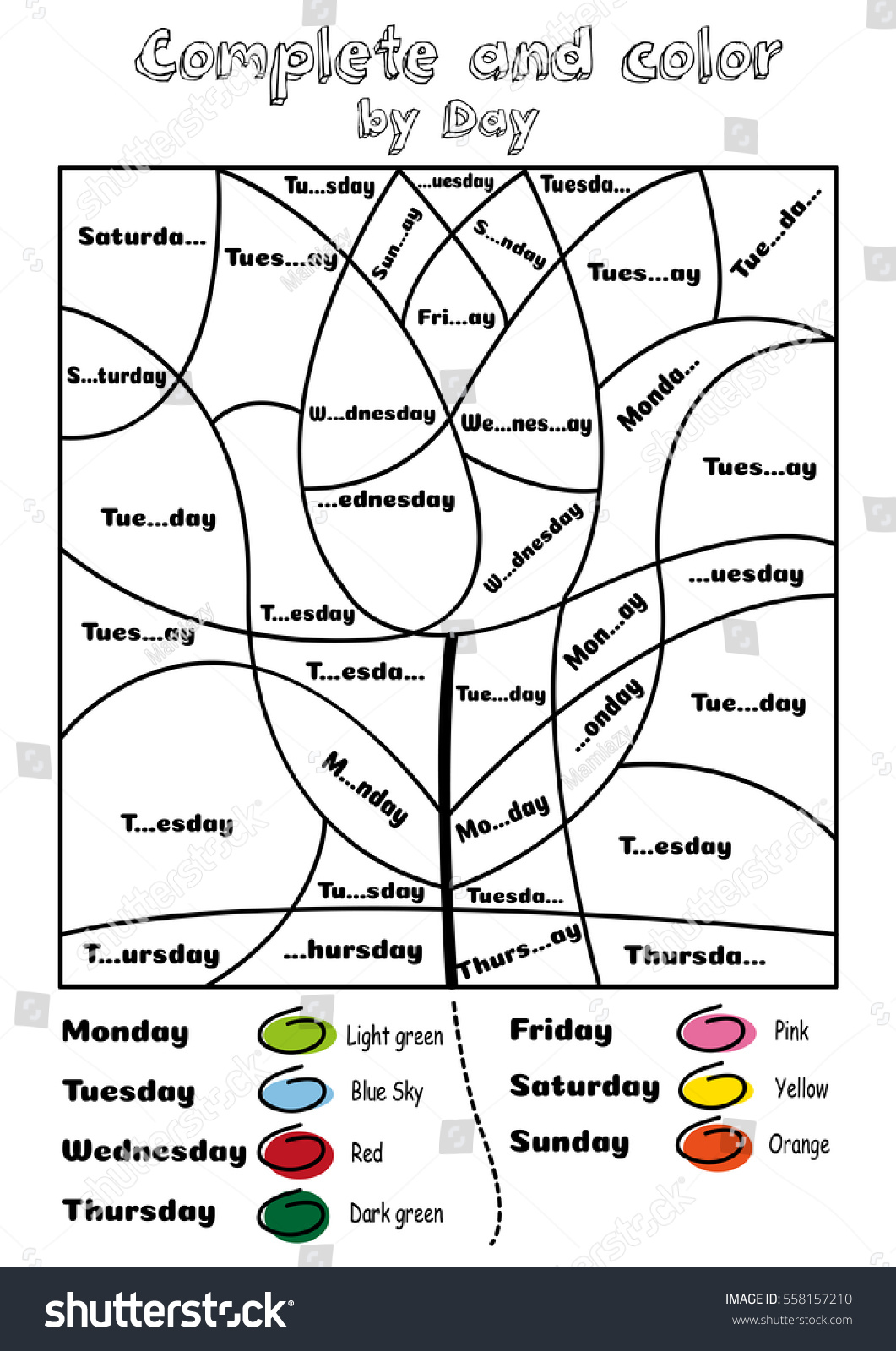 Complete And Color By Days Of The Week Stock Photo