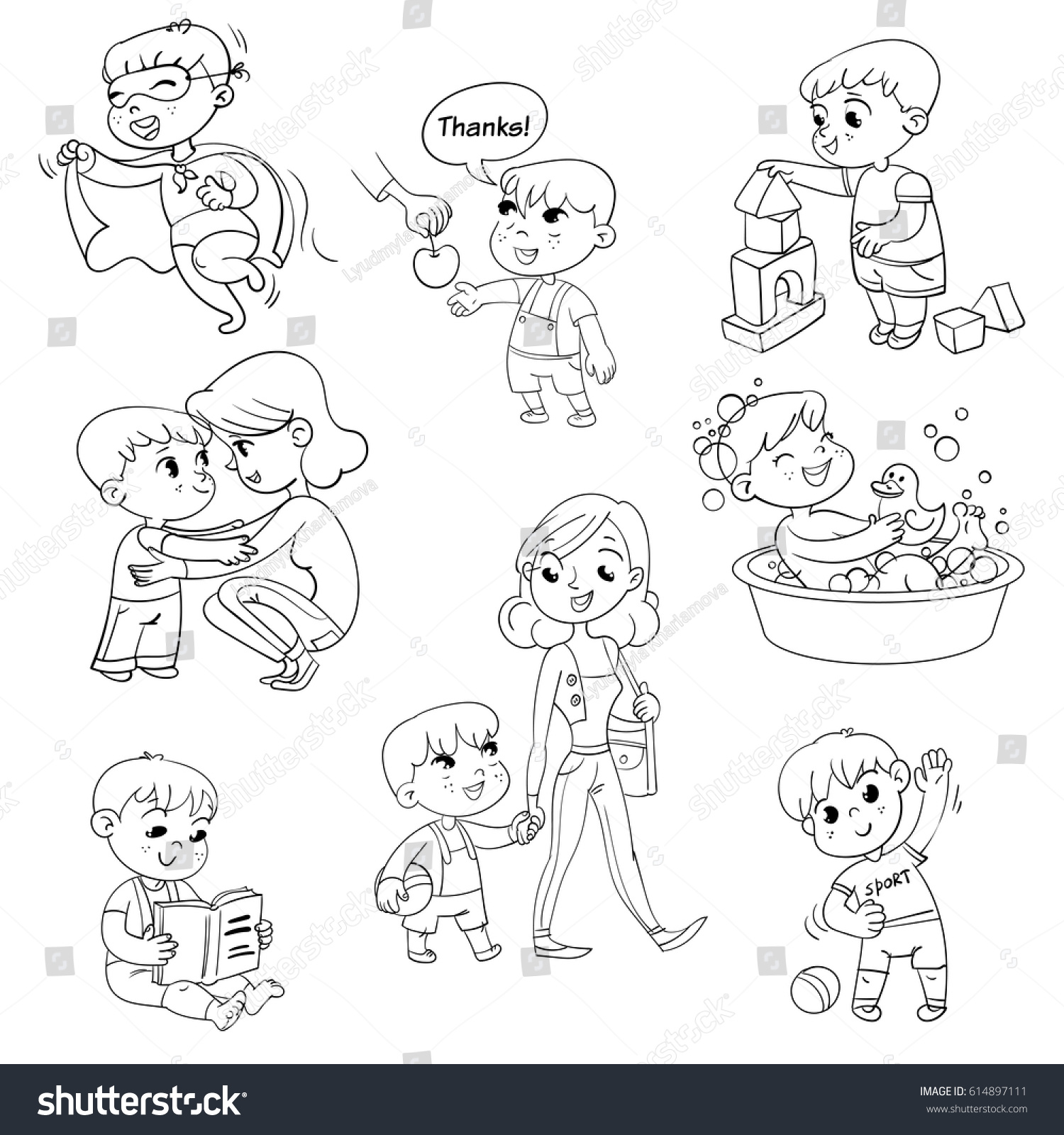 Cartoon Kid Daily Routine Activities Stock Photo