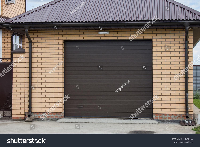 Automatic Roller Shutters Garage Buildings Landmarks Stock