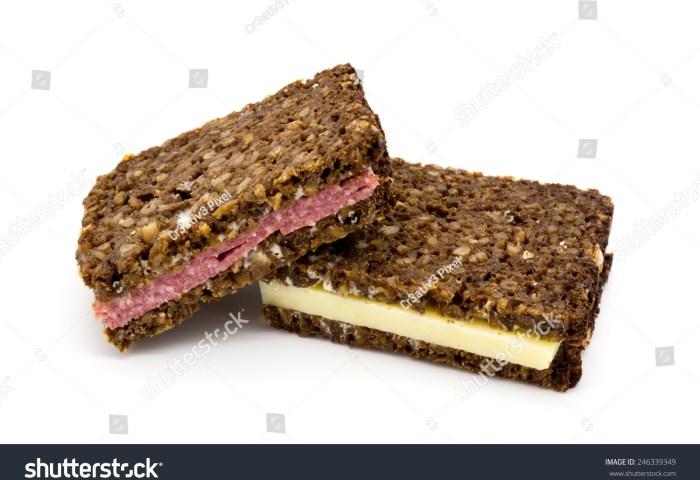 Black Dark Bread Sandwiches Cheese Salami Stock Photo Edit Now