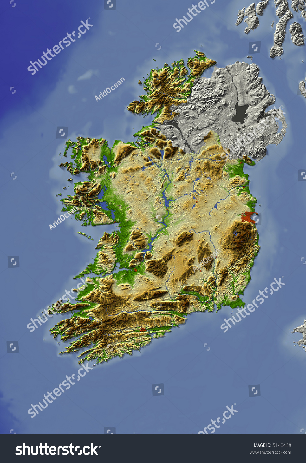 3d Relief Map Of Ireland Shows Major Cities And Rivers