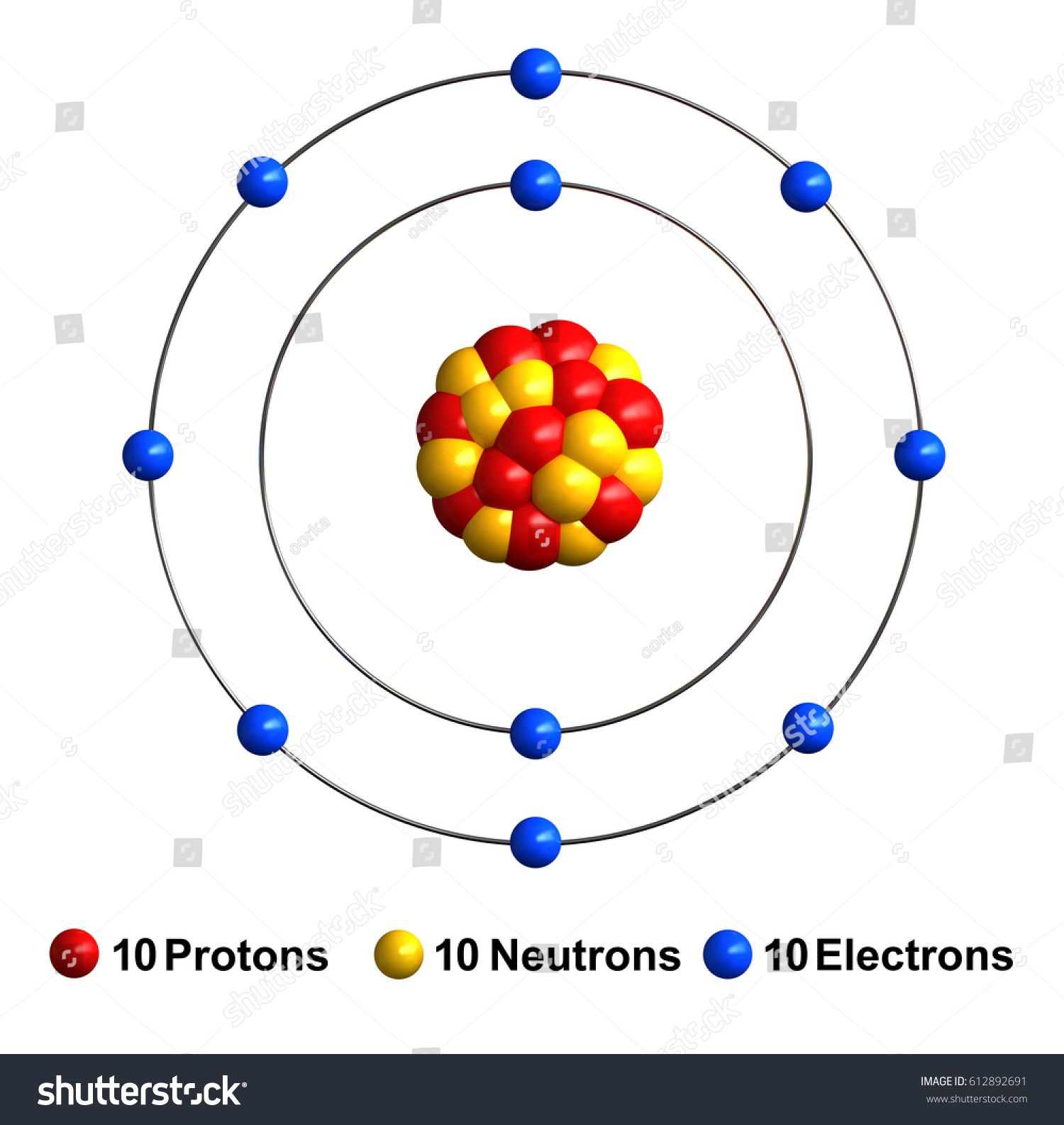 3d Render Atom Structure Neon Isolated Stock Illustration