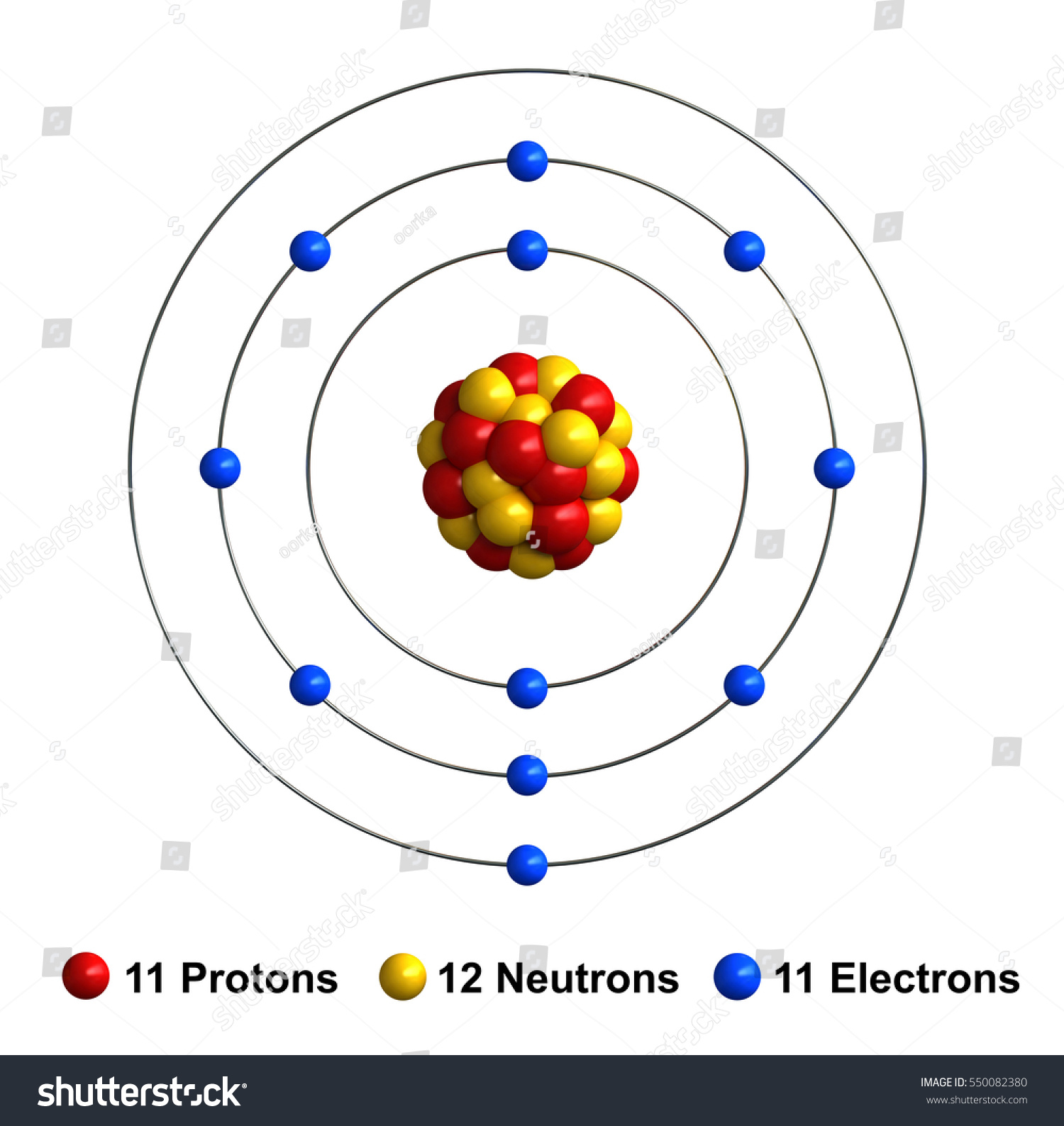 3d Render Atom Structure Sodium Isolated Stock