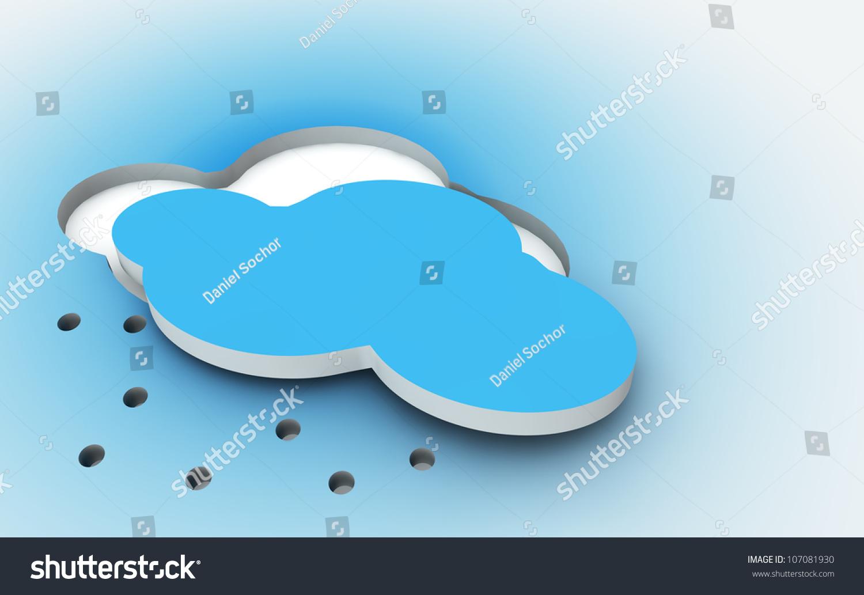 3d Shape Of The Blue Cloud Cut Out Weather Symbol Stock