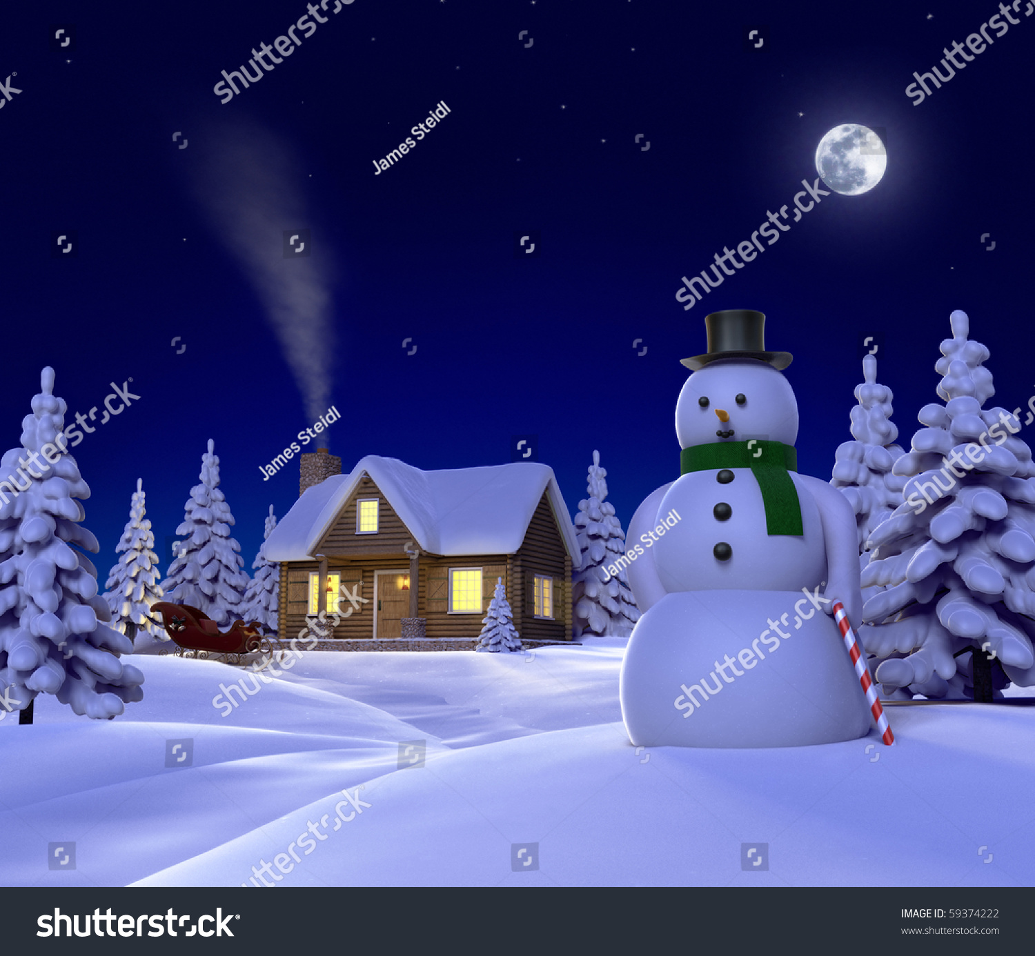 A Christmas Themed Snow Scene Showing Snowman Cabin And