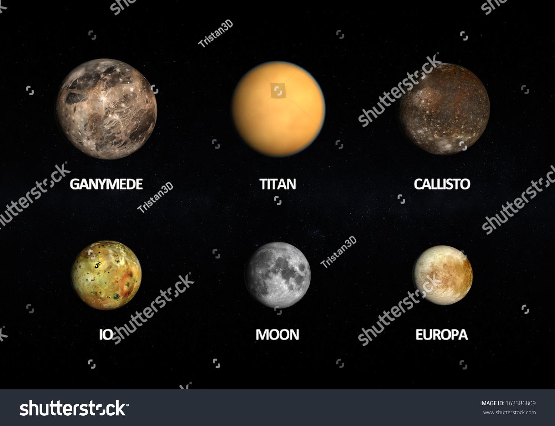 Comparison Between Jupiter Moons Earth Moon Stock
