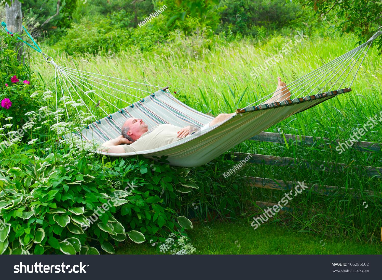Man Sleeping His Hammock On Hot Stock Photo