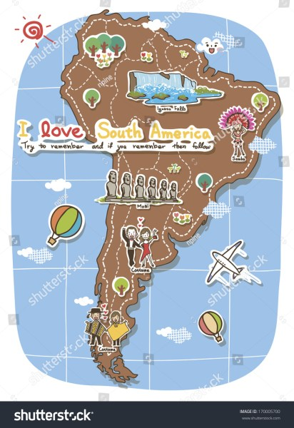 Map South America Depicting Tourist Destinations Stock Illustration     A map of South America depicting tourist destinations