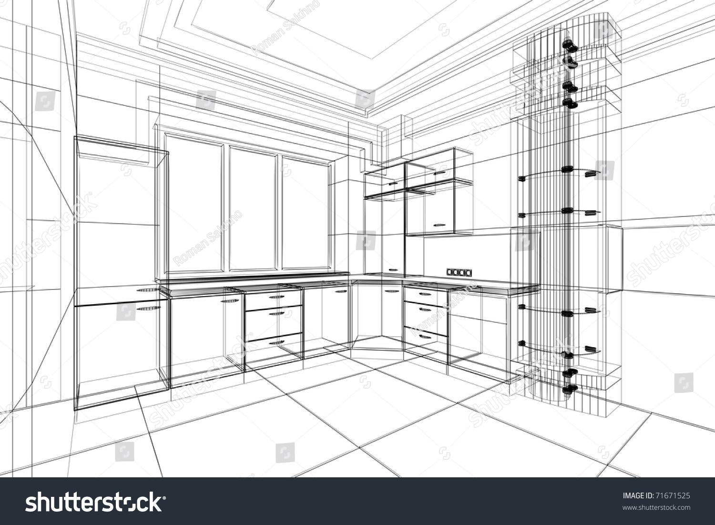 Abstract Sketch Design Interior Kitchen Stock Illustration
