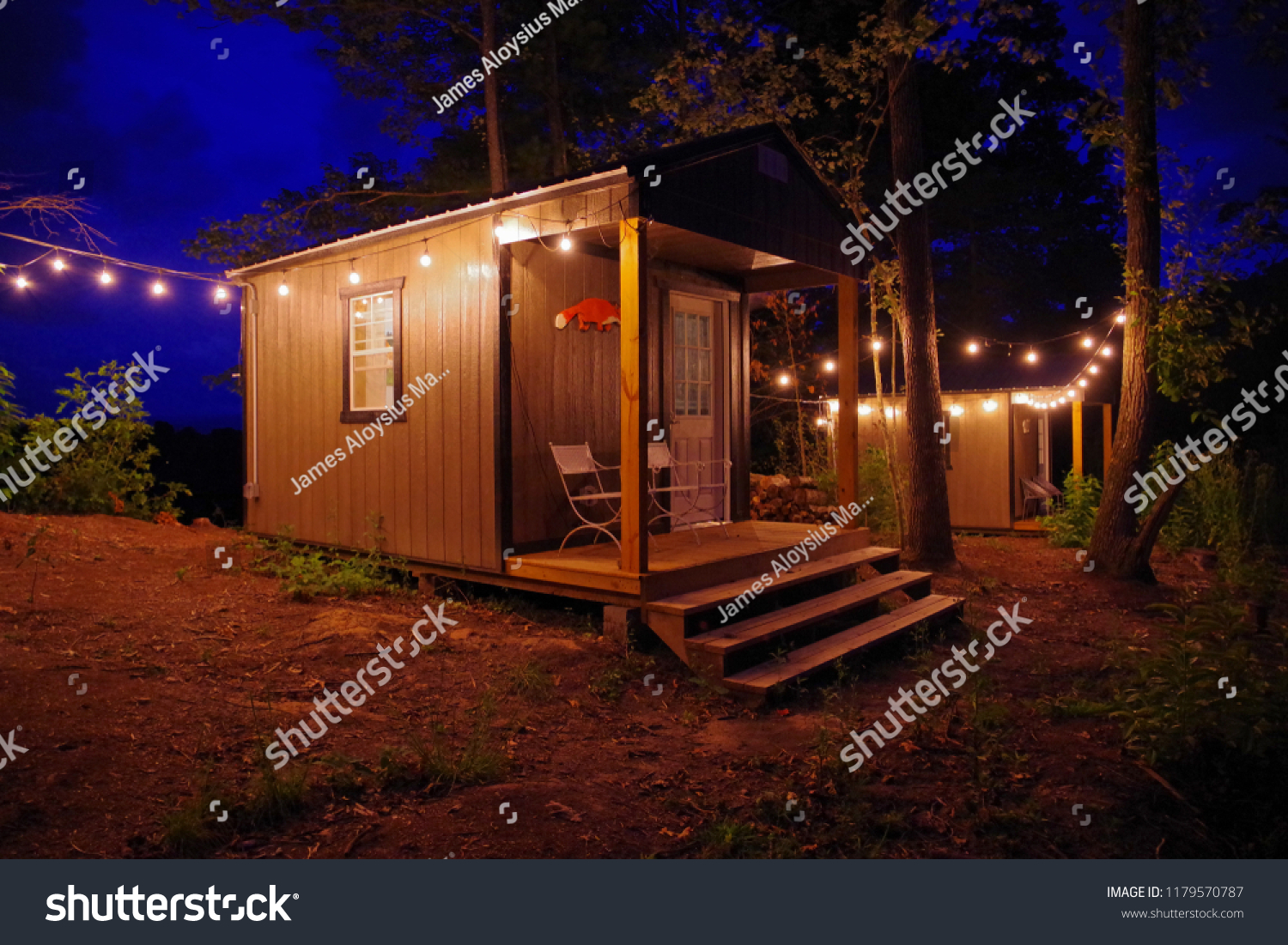 https www shutterstock com image photo airbnb tiny house cabin exterior christmas 1179570787