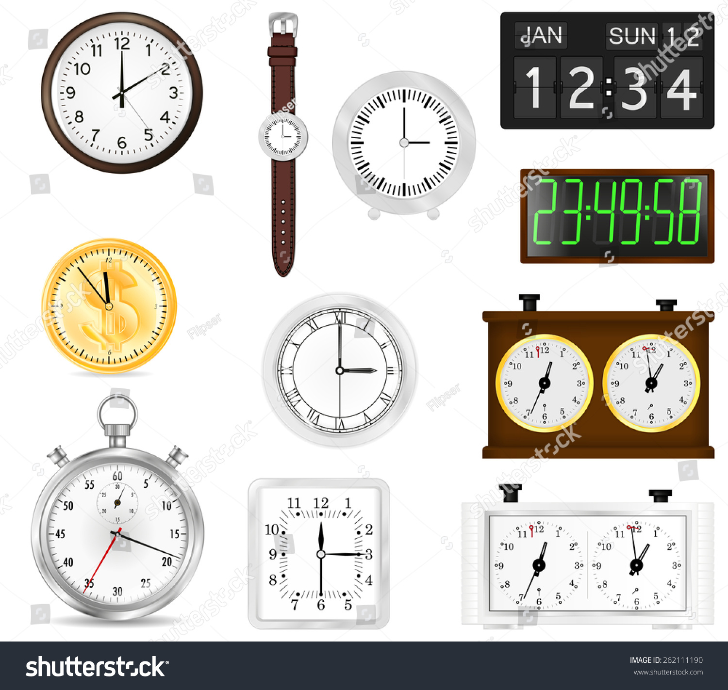 All Types Time Indication Clocks Watch Stock Illustration