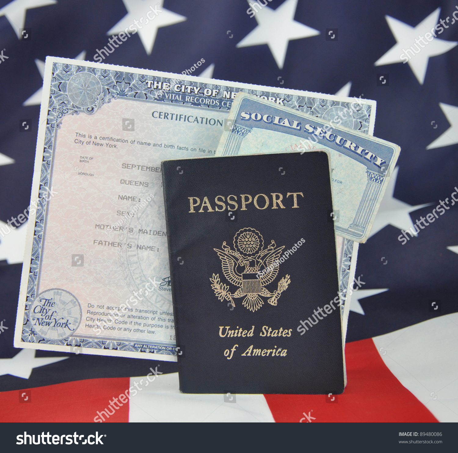 American I D Documents Passport Birth Certificate Social