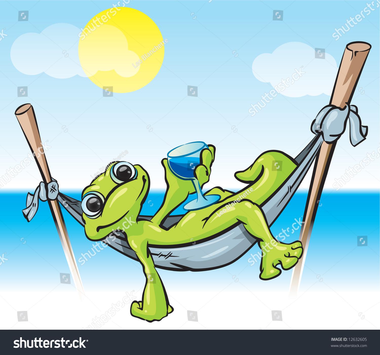 Illustration Gecko Hammock Cold Drink Tropical Stock