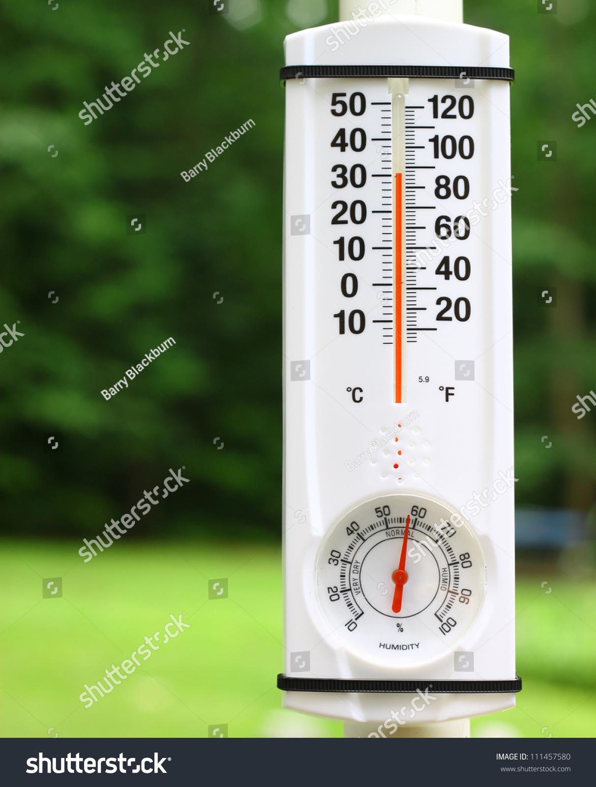 New Outdoor Mercury Thermometer Humidity Gauge Stock Photo