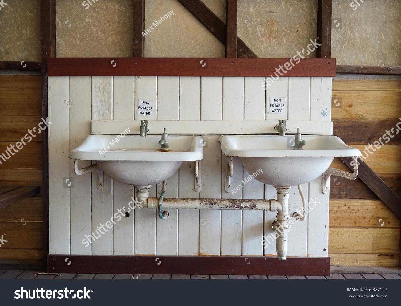 https www shutterstock com image photo old rustic bathroom sink dual basins 366327152