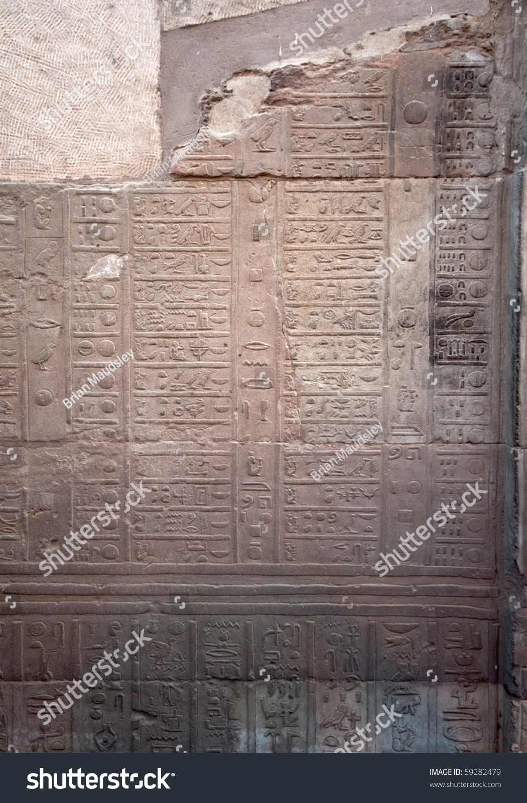 Ancient Egyptian Calendar On A Wall In Kom Ombo Temple On