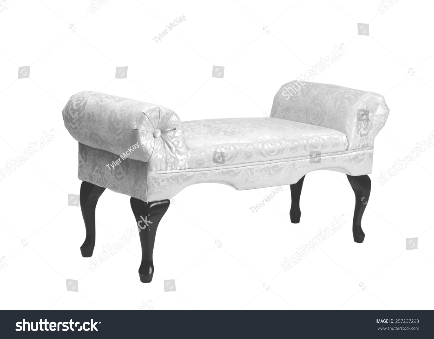 Antique Oldfashioned Upholstered Bench Black White Stock Photo Edit Now 257237293