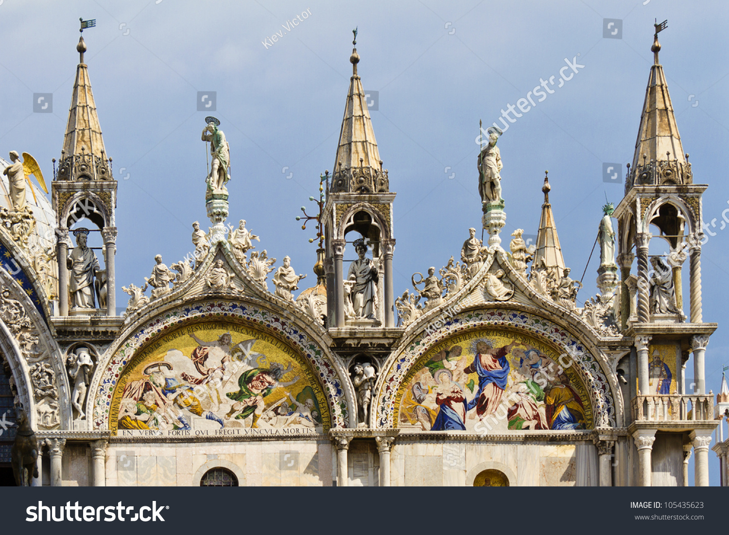 Architectural Fragment Of Upper Part Of Basilica Patriarchal Cathedral Basilica Of Saint Mark Is