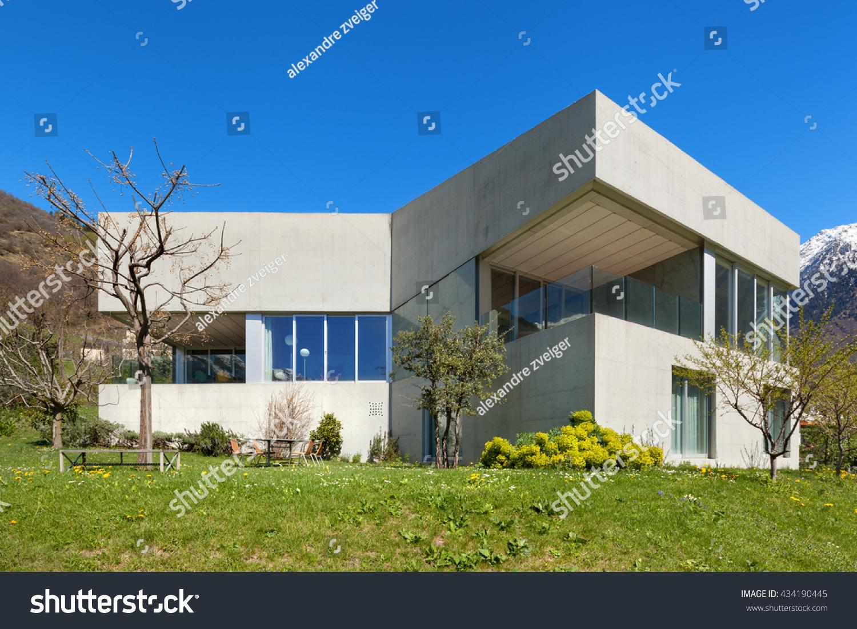 Architecture Modern Design Concrete House Garden Imagen De