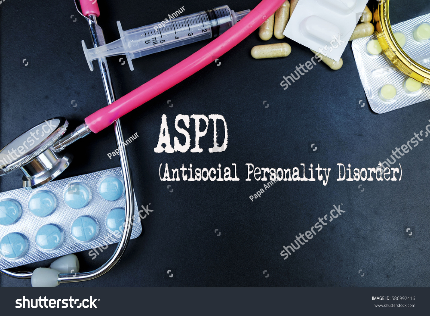 Aspd Antisocial Personality Disorder Word Medical Stock