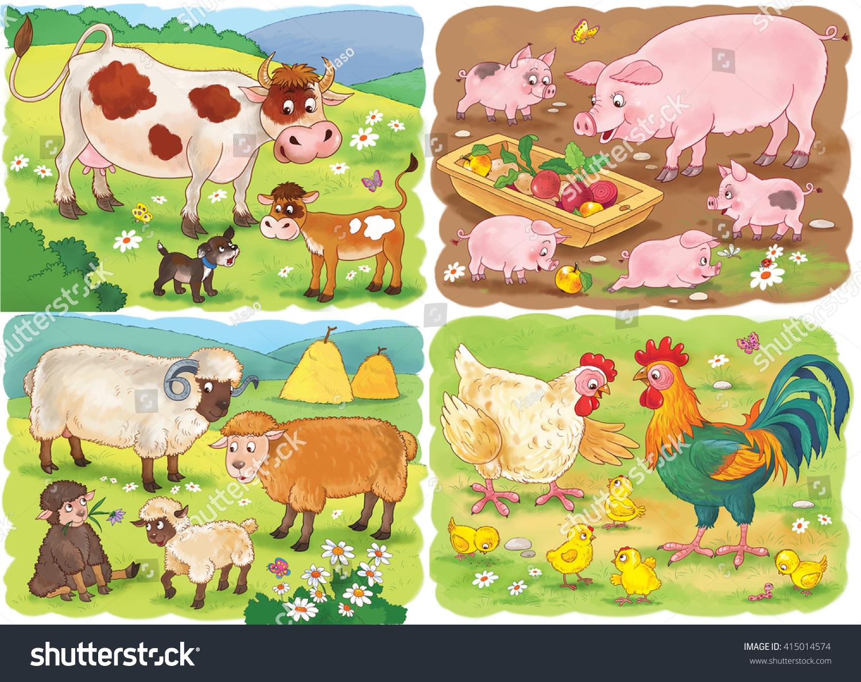 Farm Small Set Cute Farm Animals Stock Illustration