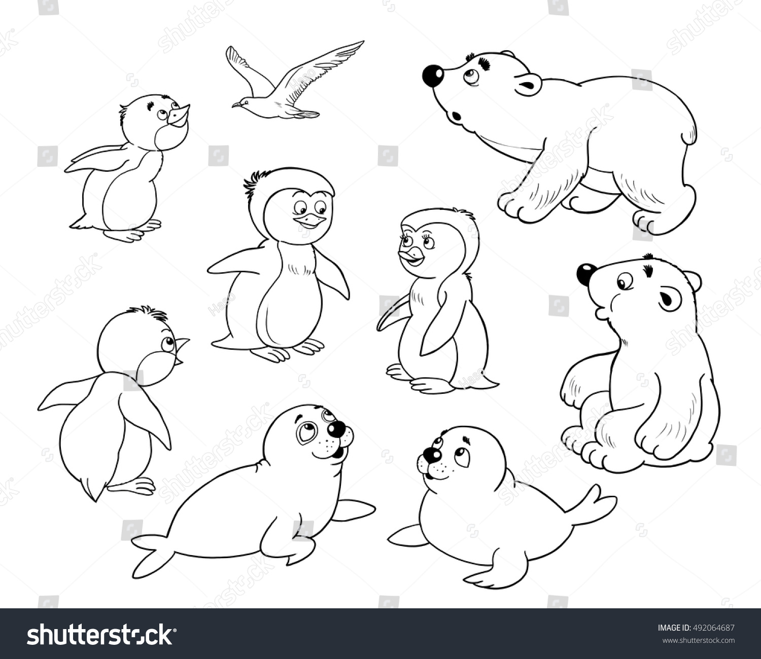 Zoo Arctic Animals Small Set Cute Stock Illustration