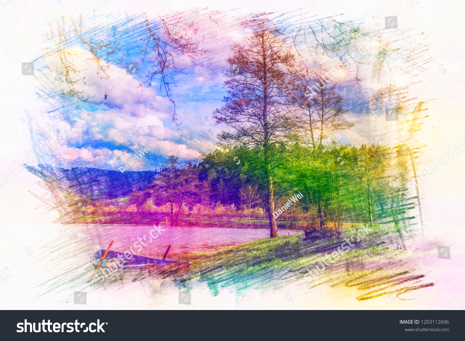 Beautiful Coloured Sketch Drawing Nature The Arts Stock Image 1203112696