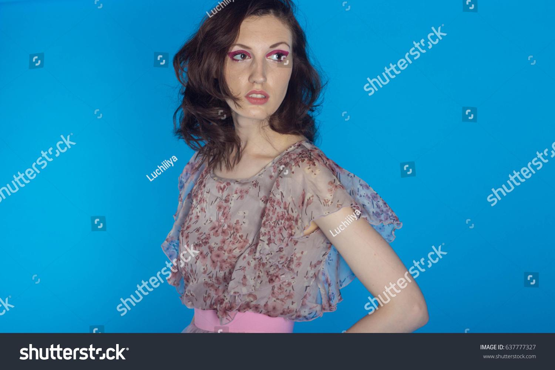 beautiful model posing pink dress on stock photo 637777327
