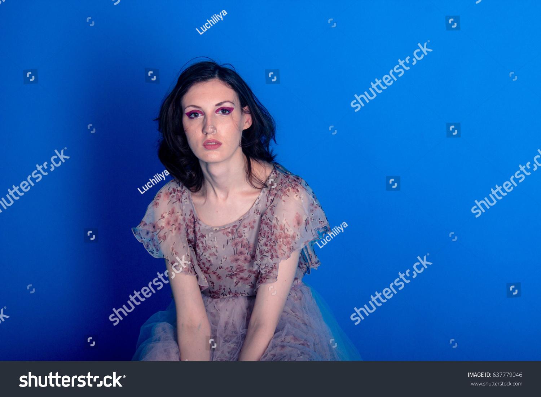 beautiful model posing pink dress on stock photo 637779046