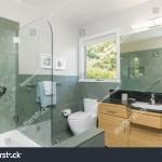 Beautiful Modern Bathroom Glass Shower Green Stock Photo Edit Now 782963872