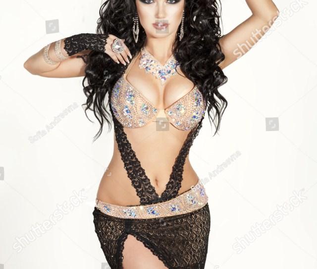 Beautiful Slim Woman Belly Dancer Sexy Arabian Turkish Oriental Professional Artist In Carnival Shining Costume With