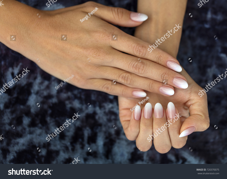 Beautiful Womans Nails Beautiful French Manicure Stock Photo Edit