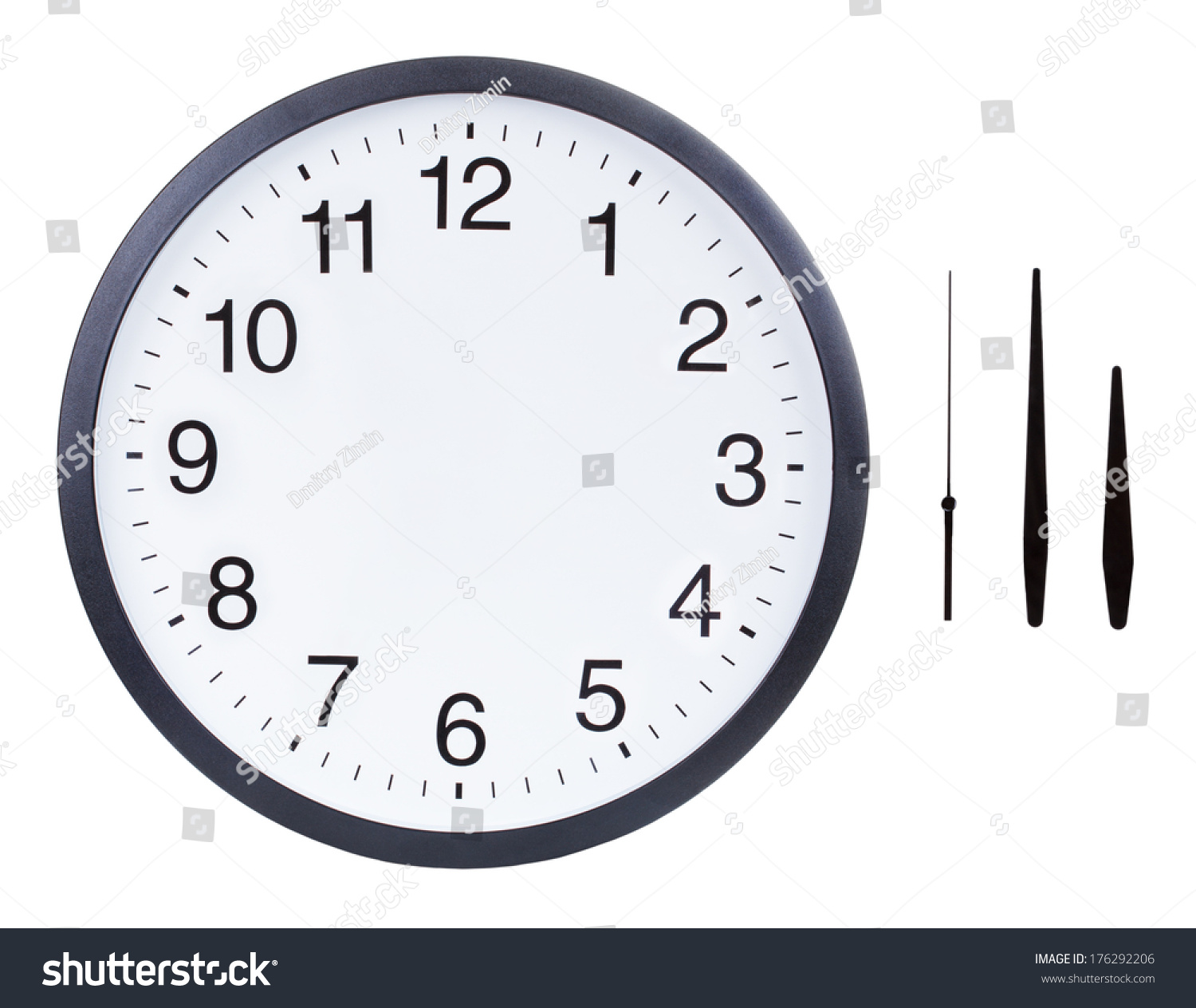 Blank Clock Face Hour Minute Second Stock Photo Edit Now 176292206
