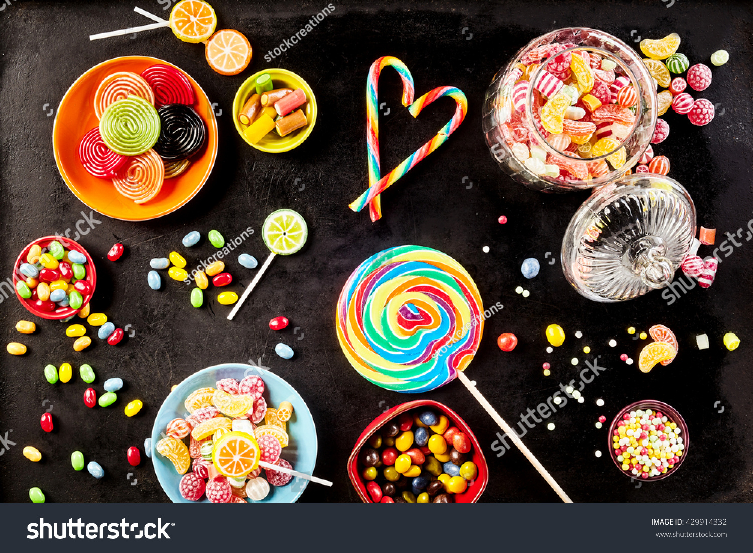 Bowls Yummy Jelly Beans Licorice Rolls Stock Photo
