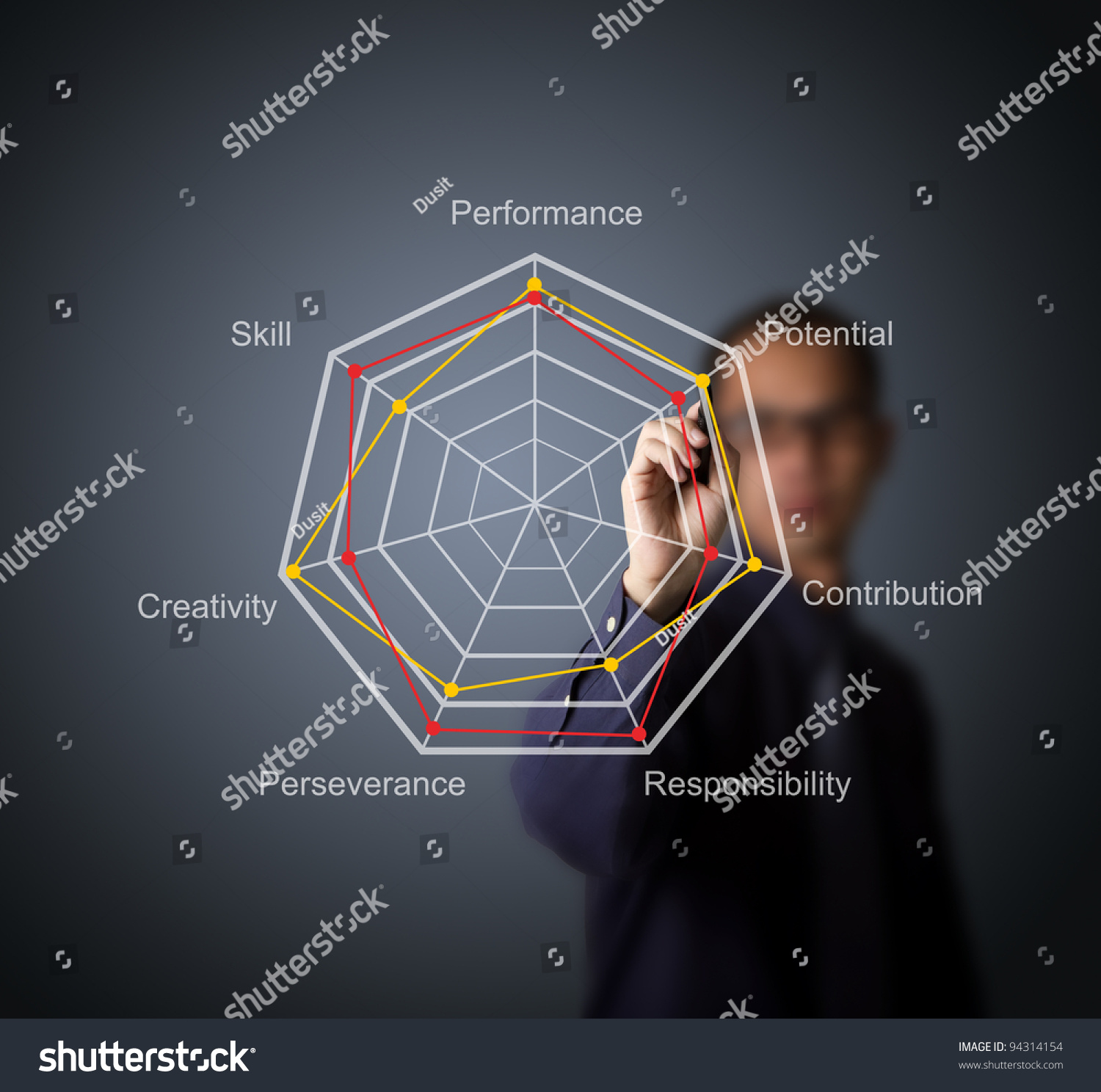 Business Man Compare Evaluation Score On Stock Photo