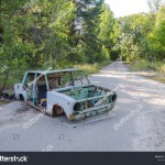Car Abandoned Chernobyl Exclusion Zone Pripyat Editar Agora Foto Stock 1455249581