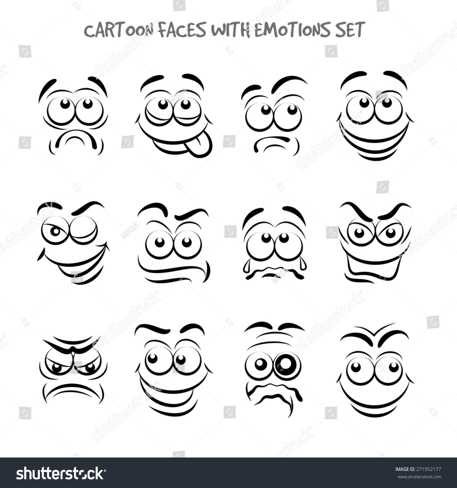 Cartoon Faces With Emotions Set Expression And Emotion