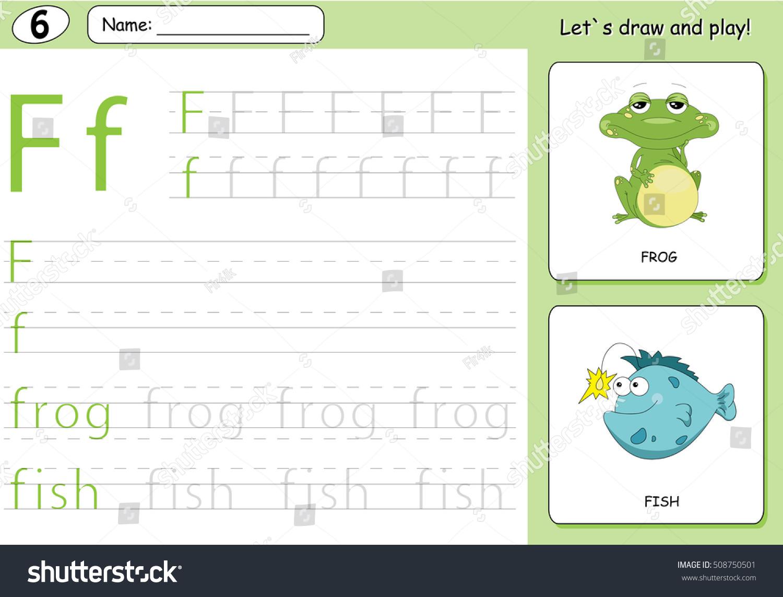 Cartoon Frog Fish Alphabet Tracing Worksheet Stock