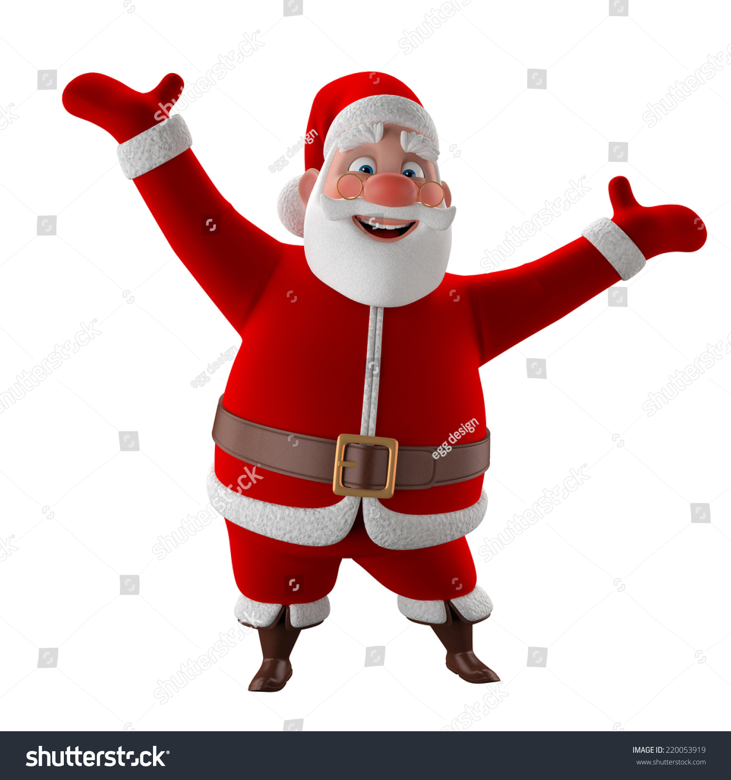 Cheerful 3d Model Santa Claus Happy Stock Illustration