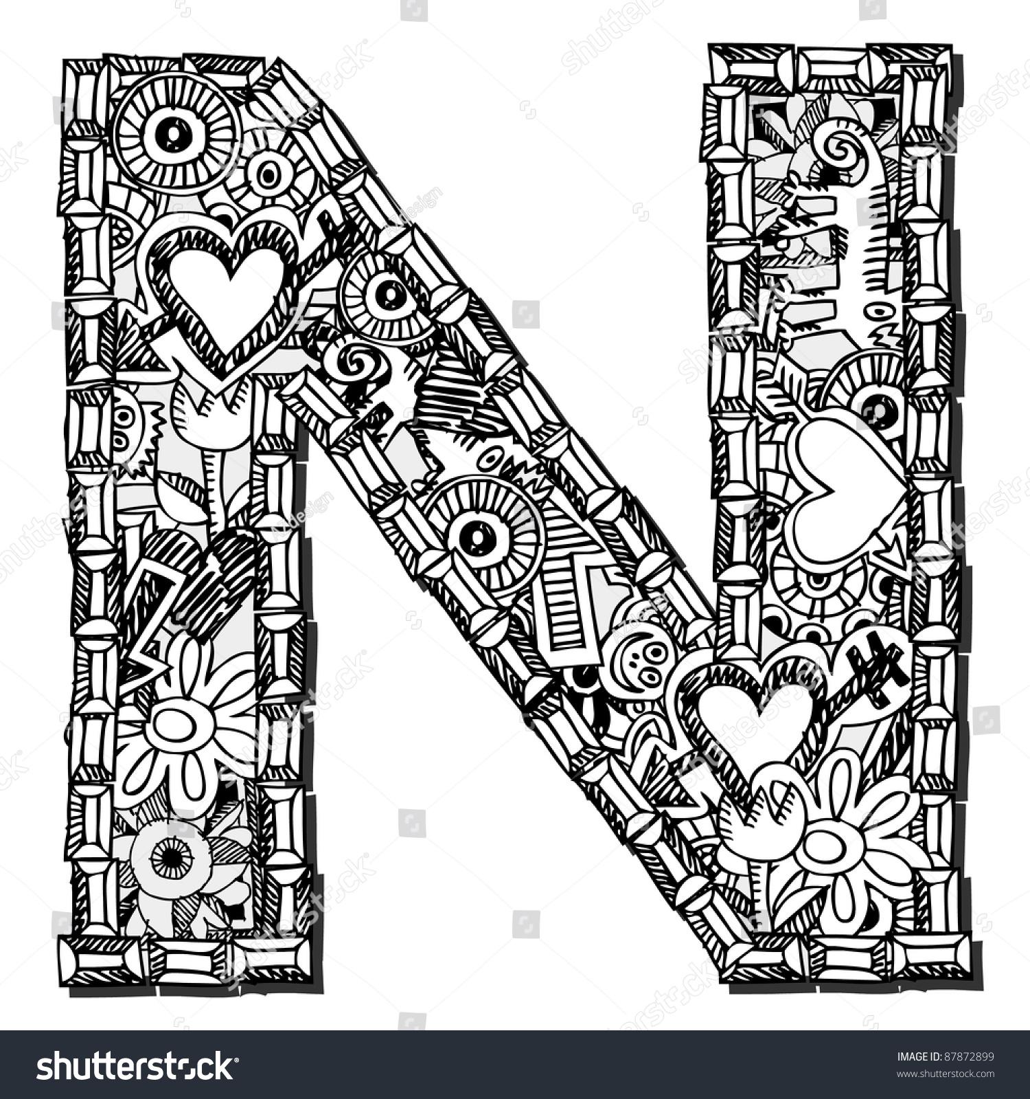Childlike Doodle Abc Crazy Letter N Stock Illustration