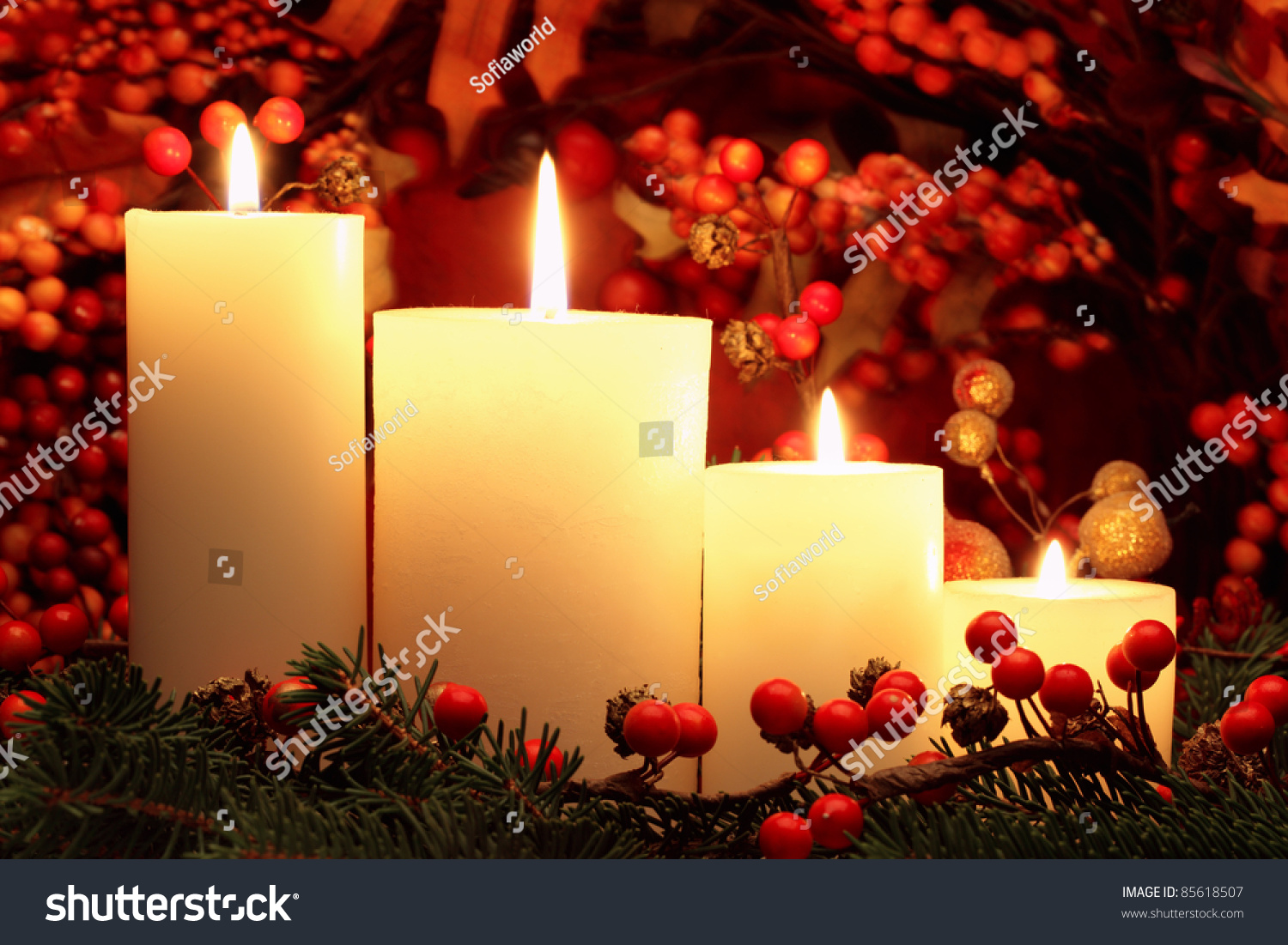 Christmas Candles Stock Photo 85618507 Shutterstock