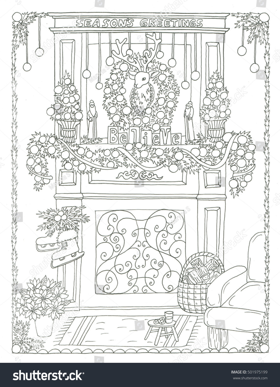 Christmas Fireplace Coloring Page Stock Illustration